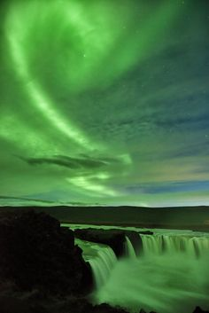 Goðafoss waterfall under a magical display of the northern lights in September 2015.