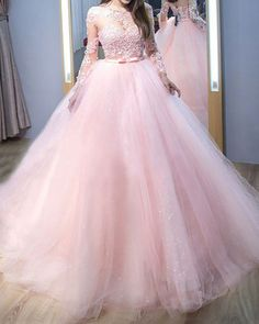 Pink Lace AppliquedJewel Neck Tulle Ball Gown Prom Dress with Long Sleeves Ball Gown Prom Dresses, Lace Prom Dresses, Long Sleeves Prom Dresses, Pink Prom Dresses, Prom Dress Prom Dresses 2019 Tulle Ball Gown, Ball Gowns Prom, Tulle Dress, Ball Dresses, Lace Dress, Dress Prom, Lace Bodice, Pageant Dresses, Formal Dress