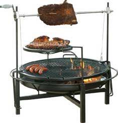 Wood Charcoal Round Rock Grill Rotisserie Fire Pit Landmann 590503 Plus