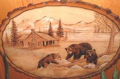 Black Bears Woodburning - I want to be able to do this one day.