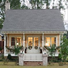 This is a large house, but the entry-front elevation and roof would work well for a small/tiny house - Small Tiny Houses Small Cottage Homes, Small Tiny House, Small Cottages, Cabins And Cottages, Coastal Cottage, Small House Plans, Cute Small Houses, Tiny Homes, Small Cottage House Plans