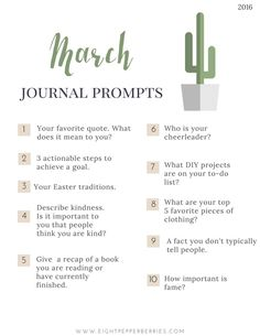 March Journal Prompts. New prompts each month >> Eight Pepperberries