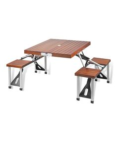 Look at this Brown Portable Picnic Table Set on #zulily today!