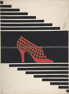 Shoe Design for Delman's Shoes, New York  Erté (Romain de Tirtoff)  (French (born Russia), St. Petersburg 1892–1990 Paris)  Date: 1934 Medium: Gouache