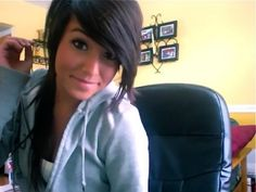 Love how dark her hair is. Might do this for fall and winter. Gotta cover up the grays! :)