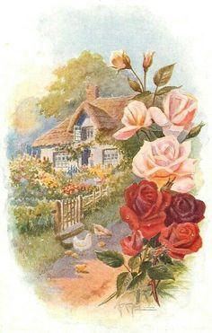 Coloring for adults - Kleuren voor volwassenen: Decoupage Vintage, Vintage Ephemera, Vintage Cards, Vintage Paper, Vintage Postcards, Vintage Images, Colouring Pages, Adult Coloring Pages, Coloring Books
