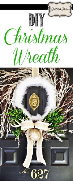 alot going on here but it gives me an idea  TIDBITS-&-TWINE DIY Boxwood and Boa Christmas Wreath 2015