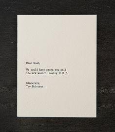Noah/Einhörner. Buchdruck-Karte. 250 von shopsaplingpress auf Etsy