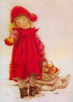 Swedish artist Carl Larson's daughter Lisbeth holding an apple.