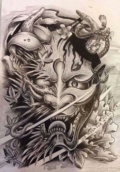 filipino tattoos and their meanings Mascara Samurai Tattoo, Tattoo Mascara, Samurai Mask Tattoo, Hannya Mask Tattoo, Hanya Tattoo, Filipino Tattoos, Asian Tattoos, Leg Tattoos, Body Art Tattoos