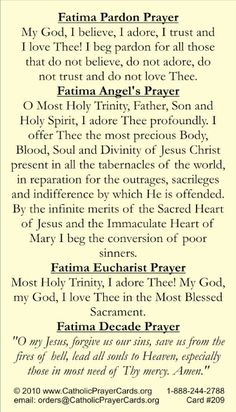 Fatima prayers Catholic Religion, Catholic Quotes, Religious Quotes, Catholic Doctrine, Fatima Prayer, Rosary Prayer, Angel Prayers, Prayers Of The Rosary, Praying The Rosary Catholic