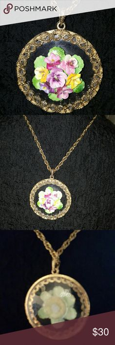 Fab Vintage bone china pendant on chain Fabulous pendant measuring approximately 3 inches across with no condition issues. The chain is approximately 22 inches. A fabulous piece Vintage Jewelry Necklaces
