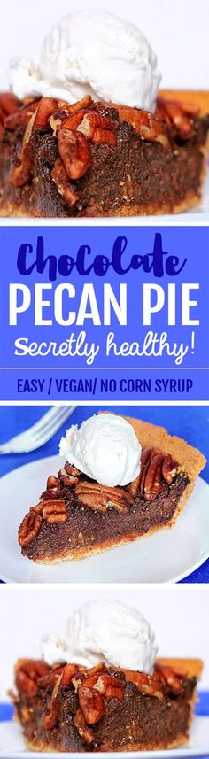 This healthy chocolate pecan pie is amazing! #vegan #dessert #chocolate #healthy #recipe