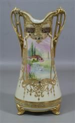 """Nippon Hand Painted and Jeweled Vase with pastoral scenes, marked on base, 13-1/2"""" high (If RS Prussia and the like are too expensive, a good piece of Nippon looks fabulous at a reasonable price."""