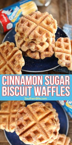This recipe for Cinnamon Sugar Biscuit Waffles only calls for 3 ingredients! The canned biscuits are the perfect shortcut to put delicious waffles on the table for breakfast on a busy weekday morning! Cinnamon Biscuits, Canned Biscuits, Cinnamon Waffles, Breakfast Dishes, Breakfast Recipes, Dessert Recipes, Desserts, Waffle Maker Recipes, Crispy Waffle