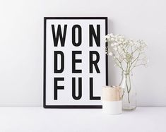 Typographic home decor prints. by osotweedesigns on Etsy Unique Wall Art, White Home Decor, White Houses, Black And White, Prints, Free Delivery, Etsy, Gift, White Homes
