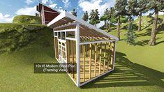 10x16 Shed Plan Framing View.  http://www.DIY-Plans.com