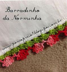Цветочная кайма http://pontopreso1.blogspot.ru/2014/07/croche-barradinho-rasteirinho.html