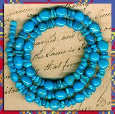"""SLEEPING BEAUTY Turquoise Beads 2 Sizes 16"""" Str.Pure Genuine Color SOUTHWEST"""