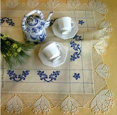 #mavi #çiçekler #masaortusu #blue #flowers #tablecloth