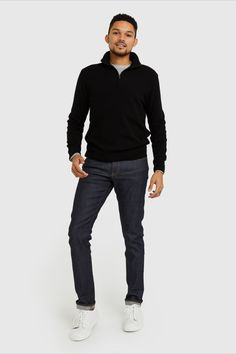 Classic hoodie ease meets ultra--A cashmere softness. Made a cashmere to trap warmth throughout even the coldest months. It's sleek fit and subtle contrast detailing keeps this style elevated whether worn over a tee-shirt or under a winter jacket. Cashmere Sweater Men, Zip Sweater, Home Outfit, Tee Shirts, Tees, Black Sweaters, Contrast, Winter Jackets, Normcore