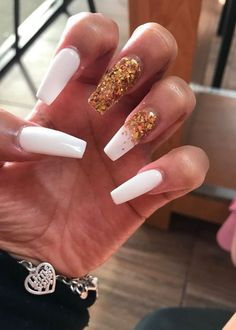 In search for some nail designs and ideas for your nails? Listed here is our set of must-try coffin acrylic nails for cool women. Cute Acrylic Nail Designs, Cute Acrylic Nails, Holiday Acrylic Nails, Gold Glitter Nails, Dope Nails, Fun Nails, Long Cute Nails, Birthday Nails, Card Birthday