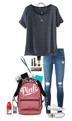 """School day"" by halledaniella ❤ liked on Polyvore featuring Mead, Five Star, Frame, MANGO, Wrap, Kendra Scott, Victoria's Secret, Maybelline, NARS Cosmetics and Urban Decay"