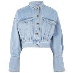 Cropped Denim Jacket by Boutique ($110) ❤ liked on Polyvore featuring outerwear, jackets, long sleeve crop jacket, long sleeve jacket, topshop jackets, jean jacket and blue denim jacket