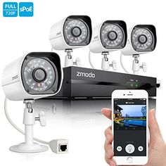 Zmodo Smart PoE 720P HD Security Camera System 4 x 720P Outdoor Night Vision Surveillance Camera No Hard Drive * Visit the image link more details. Note:It is affiliate link to Amazon.