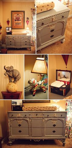 I sort of dig the vintage circus nursery vibe. minus and clowns, 'cause clowns are creepy. I hate clowns! Vintage Circus Nursery, Vintage Baby Boys, Baby Boy Rooms, Baby Boy Nurseries, Modern Nurseries, Clowns, Changing Dresser, Elephant Themed Nursery, Vintage Circus