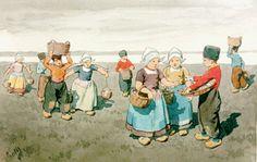Karl Feiertag (Klosterneuburg (Oostenrijk) 1874-1944) Volendamse kinderen in de zomer