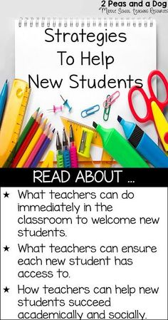 Starting at a new school after moving to a new home in a new city can be exciting, but it can also be nerve-wracking and stressful. For hundreds of thousands of students across the country, that is what any academic year has in store for them. As a teacher, there are many things you can you do to help your new students with this adjustment. Read to learn strategies for helping new students through classroom structures, welcome buddies and curriculum assessments from the 2 Peas and a Dog…