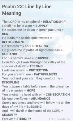 Psalm 23 from the Bible's Book of Psalms and a line-by-line meaning of the verses. Prayer Scriptures, Bible Prayers, Faith Prayer, Psalms Verses, Scriptures On Healing, Worship Scripture, Bible Psalms, Healing Prayer, Miracle Prayer
