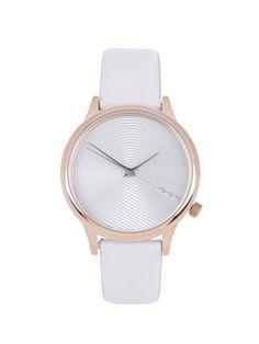 0a9f3d4fe46 Dámské hodinky v růžovozlaté barvě s bílým koženým páskem Komono Estelle  Deco