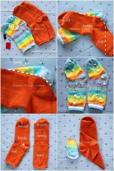 To make this sock dragon you'll require two pairs of socks. The primary might be in a single colour just like the orange pair above and the secon. Sock Crafts, Fun Crafts, Diy Craft Projects, Sewing Projects, Body Craft, Dragon Kid, Monkey Doll, Sock Animals, Clay Animals
