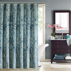 Windsor Paisley Cotton Shower Curtain - Overstock™ Shopping - Great Deals on Shower Curtains