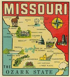 Vintage Missouri state map calling it The Ozark State, but it is widely known as the Show Me State! Wisconsin, Michigan, Kansas City Missouri, Branson Missouri, Vintage Magazine, Jefferson City, U.s. States, United States, State Map