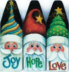 The Decorative Painting Store: We Three Santas Mini Ironing Board Ornaments, Sharon Chinn