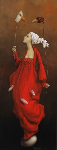 made by: Catherine Chauloux , 'La jeune fille aux oiseaux' (Girl with bird) - Painting