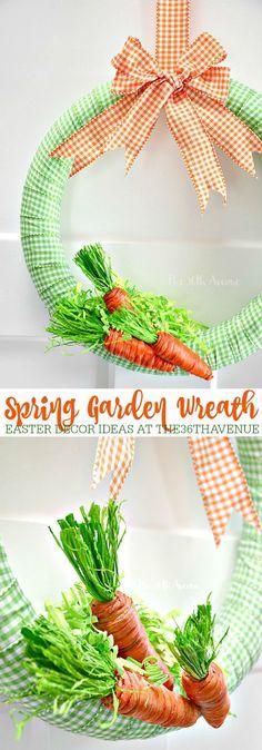 This adorable DIY Spring Garden Wreath via The 36th Avenue will make your Easter Decor fun and festive!