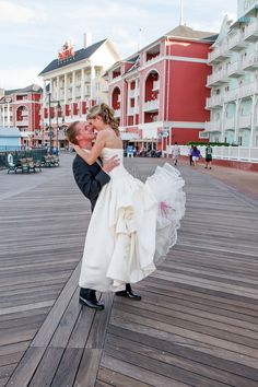 Bride and groom at Boardwalk -Wedding at WDW's Atlantic Dance Hall: Christine + Mike
