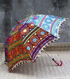 Artículo - 5 PC mano bordado paraguas de trabajo espejo Diseño - Mandala  Tejido - 100% tela de algodón Tamaño - 24 pulgadas (60 cm) Aprox. Color - Multicolor Peso - 0.250 Kg (Cada...