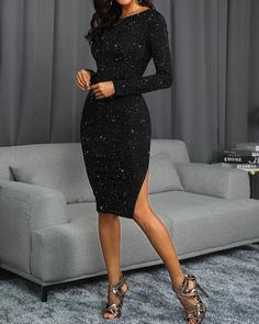 Ericdress Sequins Long Sleeve Knee-Length Womens Pullover Dress Fashion girls, party dresses long dress for short Women, casual summer outfit ideas, party dresses Fashion Trends, Latest Fashion # Sequin Party Dress, Glitter Dress, Party Dresses, Long Midi Dress, Black Bodycon Dress, Knee Length Dresses, Short Dresses, Side Split Dress, Prom Dress Shopping