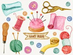 Watercolour Hand Made Sewing Clipart/Wool/Pin by BerryKissPrints