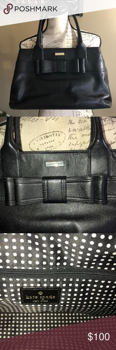 "Kate Spade black leather handbag Great condition other that normal wear on bottom corners.  Measures 14 1/2wide 5"" deep 9"" tall kate spade Bags Satchels"