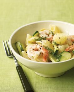 shrimp pasta salad with cucumber and dill by martha stewart