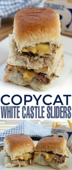White Castle Sliders Copycat White Castle Sliders that taste so authentic you'll be looking around for Harold and Kumar.Copycat White Castle Sliders that taste so authentic you'll be looking around for Harold and Kumar. White Castle Sliders, White Castle Burgers, Fodmap Recipes, Beef Recipes, Cooking Recipes, Copycat Recipes, Veggetti Recipes, Tilapia Recipes, Mexican Recipes