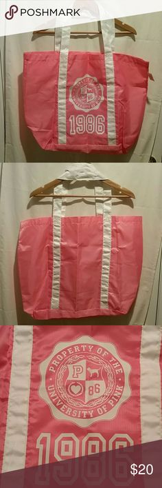 NWT pink tote bag NWT Victoria's Secret Pink very large, tote bag. Never used.  There are no holes, rips or stains on fabric. Smoke free home.  ??I also offer a 10% discount when you purchase 2 or more items from my closet in a single order using the bundle feature. PINK Victoria's Secret Bags Totes