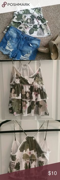 Cute tank Spring time tank Features cascading layers Floral print encompasses pink, green, brown and white tones. Braided straps Fits like a crop top Aeropostale Tops Tank Tops