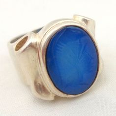 Estate Unique Sterling Silver Blue Chalcedony Carved Intaglio Soldier from riverroadcollectibles on Ruby Lane